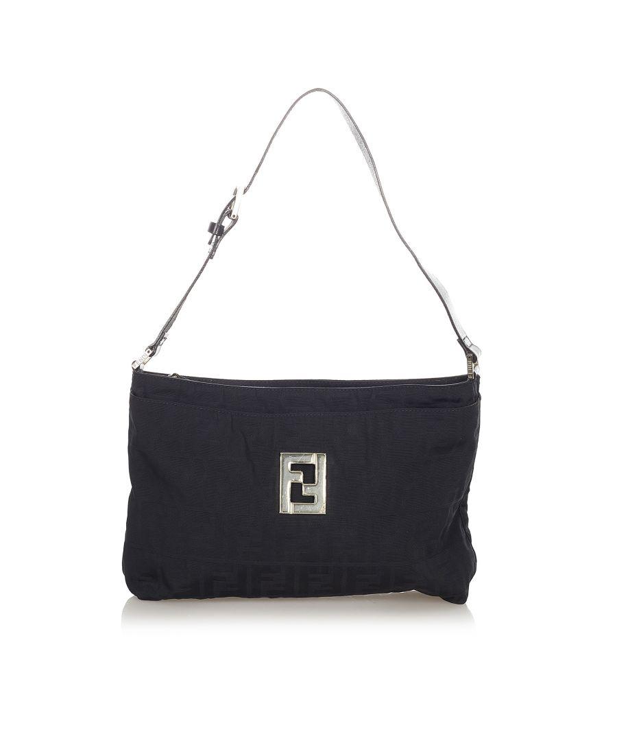 Image for Vintage Fendi Zucca Nylon Shoulder Bag Black
