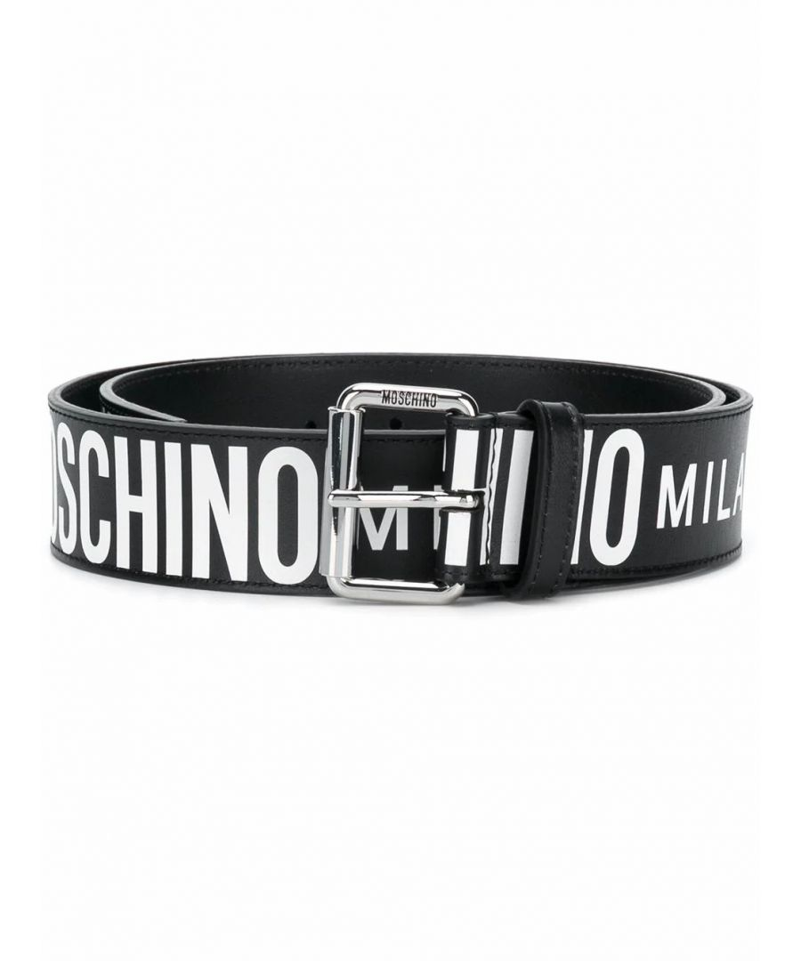 Image for MOSCHINO MEN'S A802280101555 BLACK LEATHER BELT