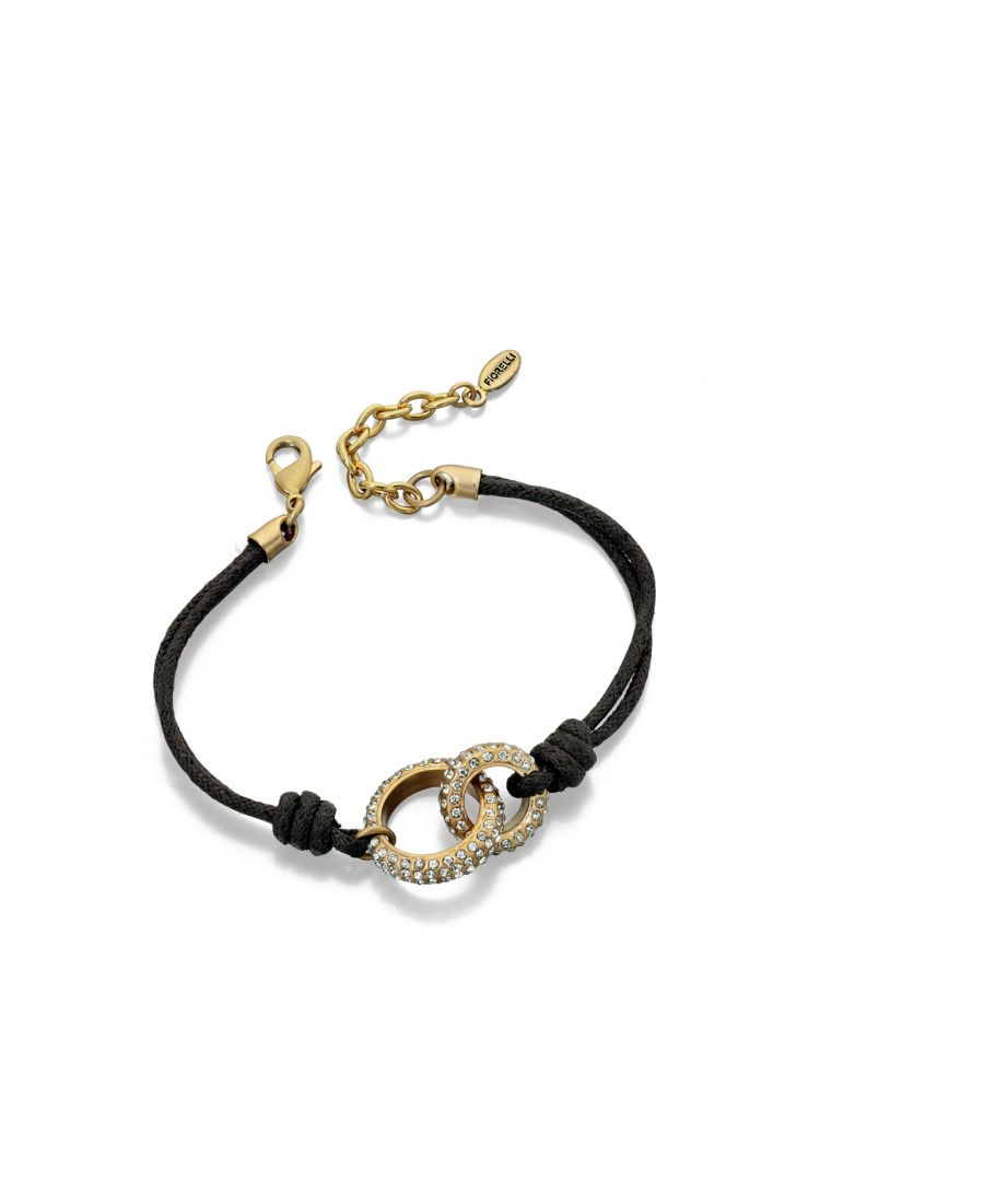 Image for Fiorelli Fashion Gold Plated Crystal Linked Circle & Brown Cord Bracelet 18cm + 4cm