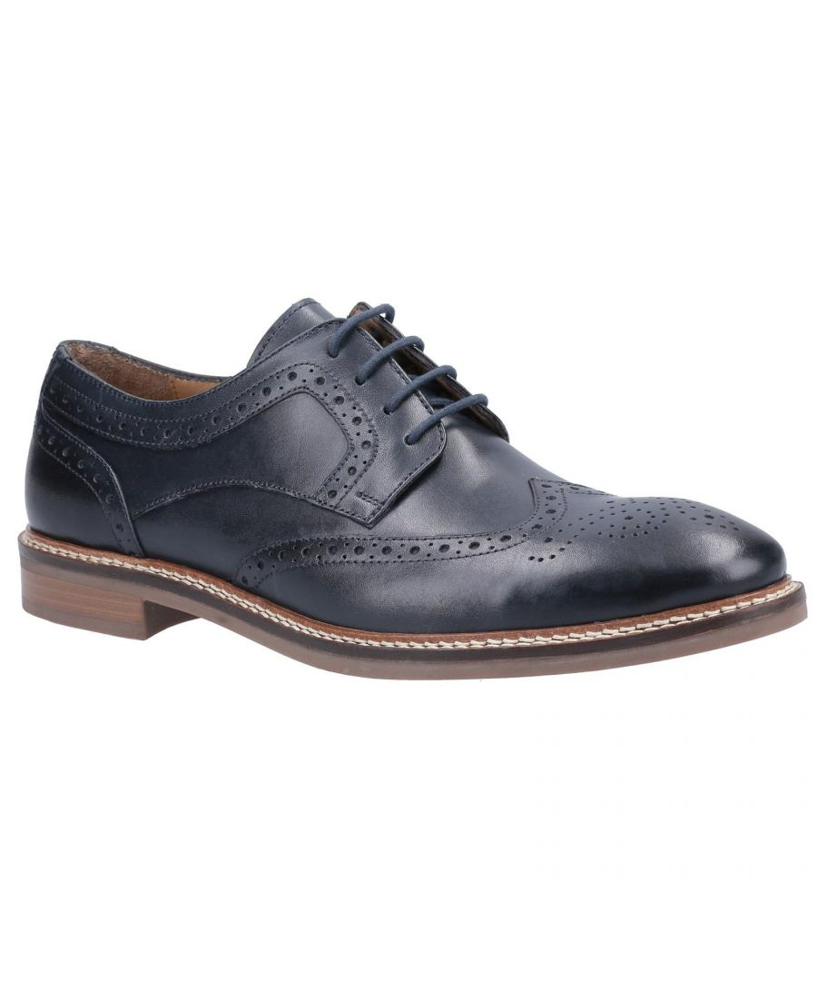 Image for Hush Puppies Mens Bryson Leather Brogues (Navy)