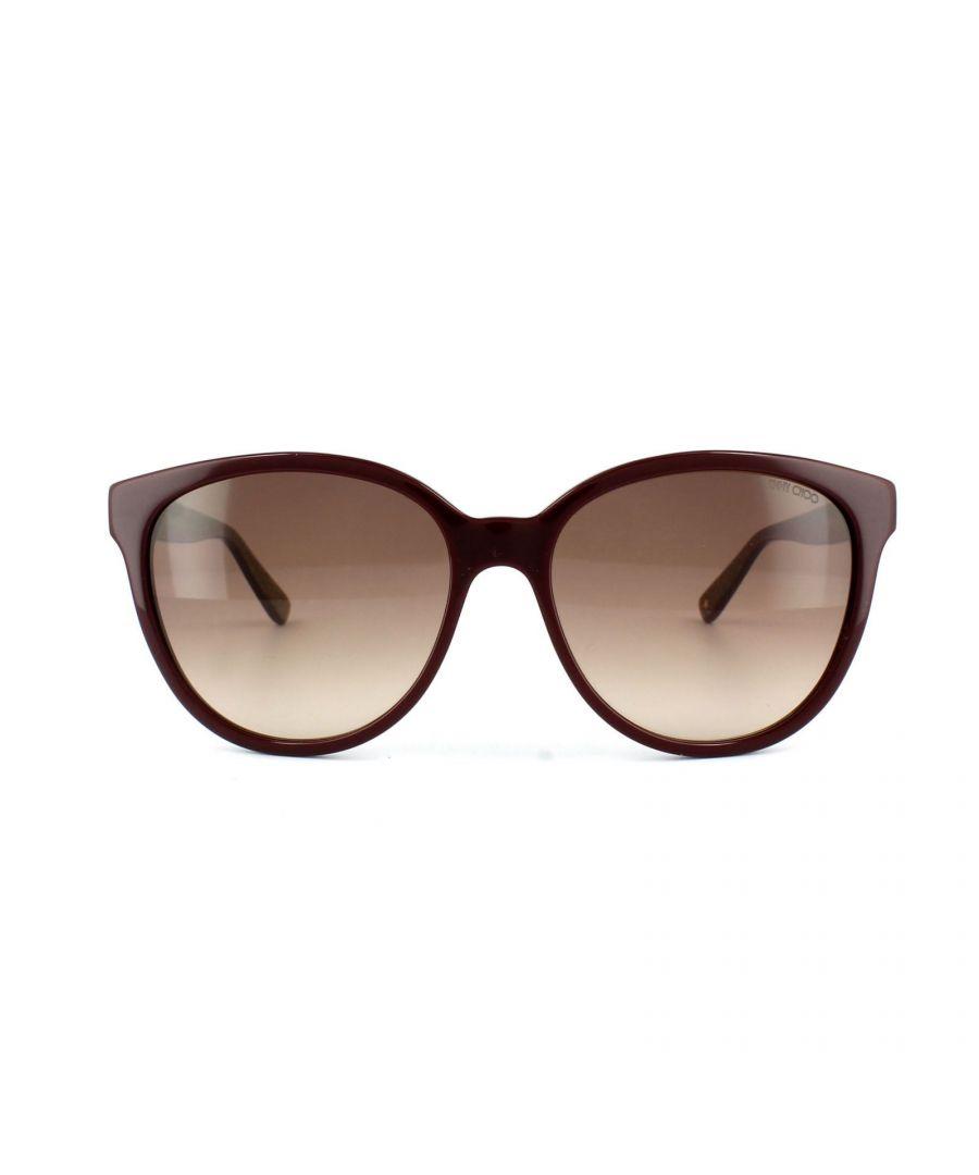Image for Jimmy Choo Sunglasses Lucia EMU D8 Burgundy Glitter Gold Brown Gradient
