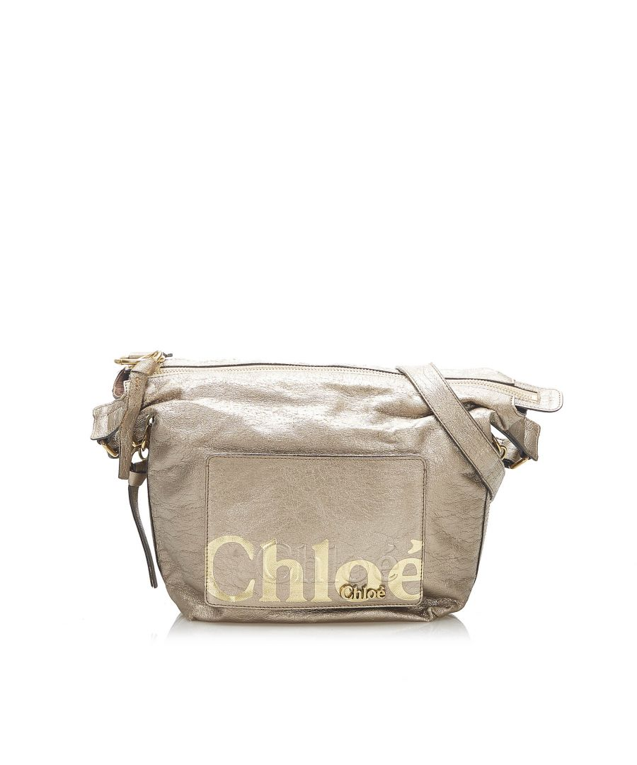Image for Vintage Chloe Eclipse Leather Crossbody Bag Gold
