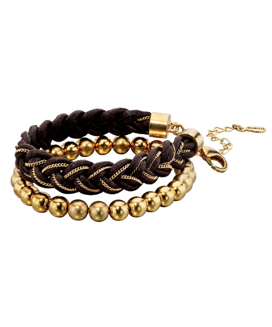 Image for Fiorelli Fashion Gold Plated Brown Cord & Chain Woven Bracelet & Bead Bracelet Set