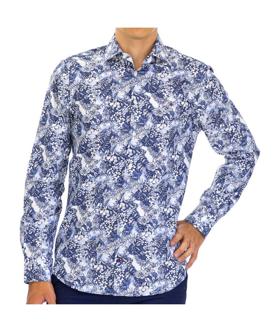 Image for Tommy Hilfiger Men's Shirt Floral Slim Fit with Long Sleeve Blue