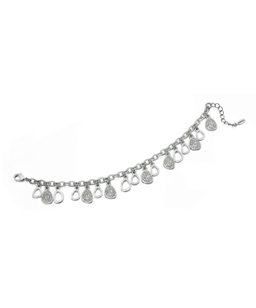 Image for Fiorelli Fashion Imitation Rhodium Plated Crystal Teardrop Charms Bracelet 19cm + 3cm