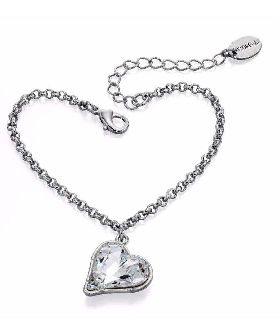 Image for Fiorelli Fashion Imitation Rhodium Plated Crystal by Swarovski Heart Charm Bracelet of Length 17cm + 4cm