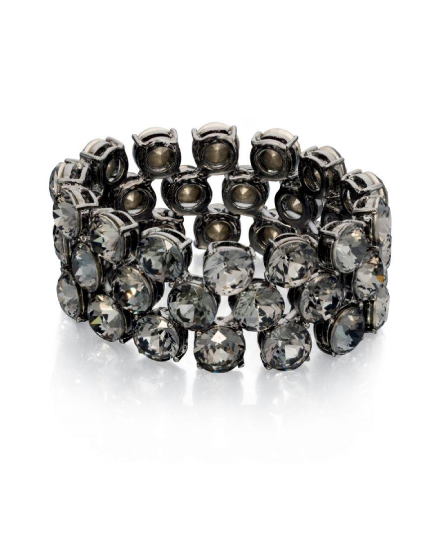 Image for Fiorelli Fashion Black Crystal Gunmetal Plated Stretch Bracelet