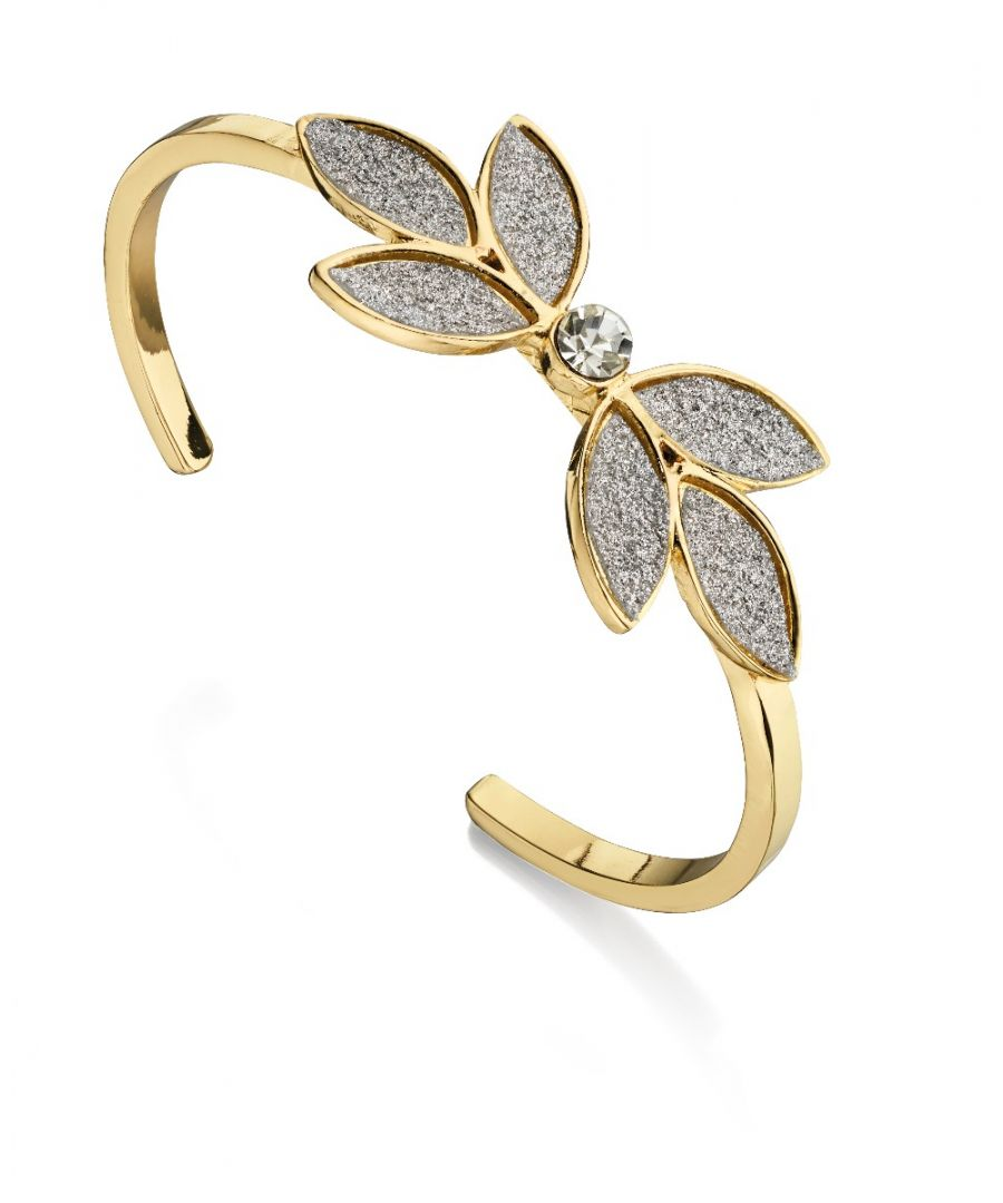 Image for Fiorelli Fashion Gold Plated Crystal & Glitter Flower Bangle Bracelet