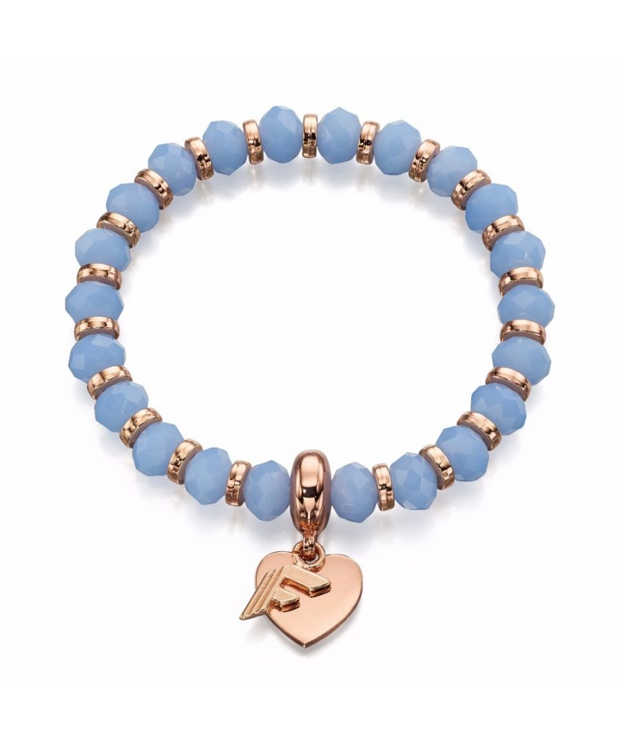 Image for Fiorelli Fashion Light Blue Glass Bead & Rose Gold Heart Charm Stretch Bracelet