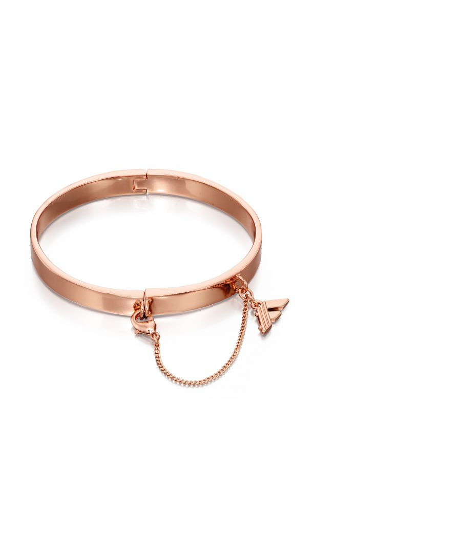 Image for Fiorelli Fashion Rose Gold Plated Hinged Bangle Bracelet with Chain Clasp