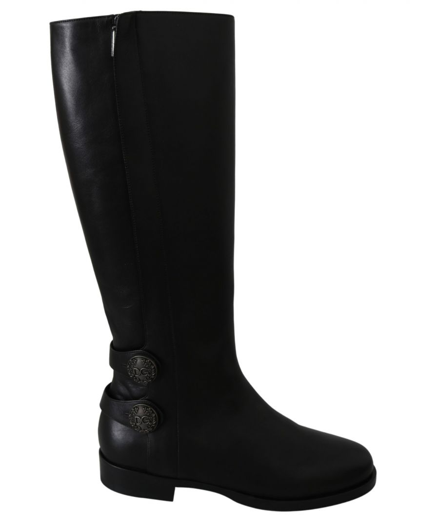 Image for Dolce & Gabbana Black Leather Knee High Shoes Boots