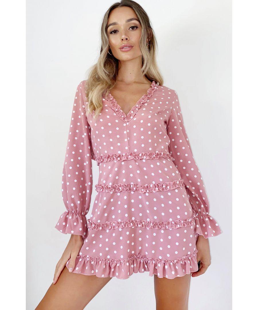 Image for Rose Pink Polka Dot Skater Dress