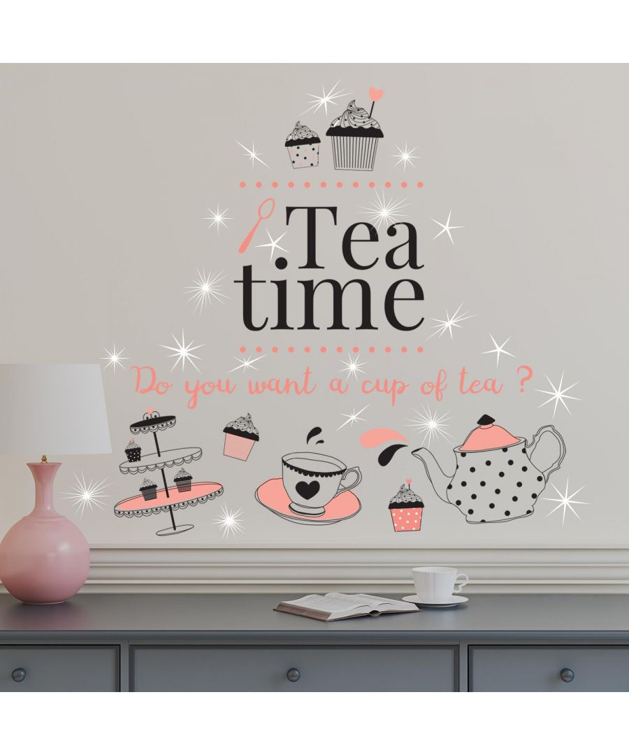 Image for Combo of Coffee or Tea Time and Swarovski crystals Wall Stickers, Kitchen, Bathroom, Living room, Self-adhesive, Decal, Decoration, DIY