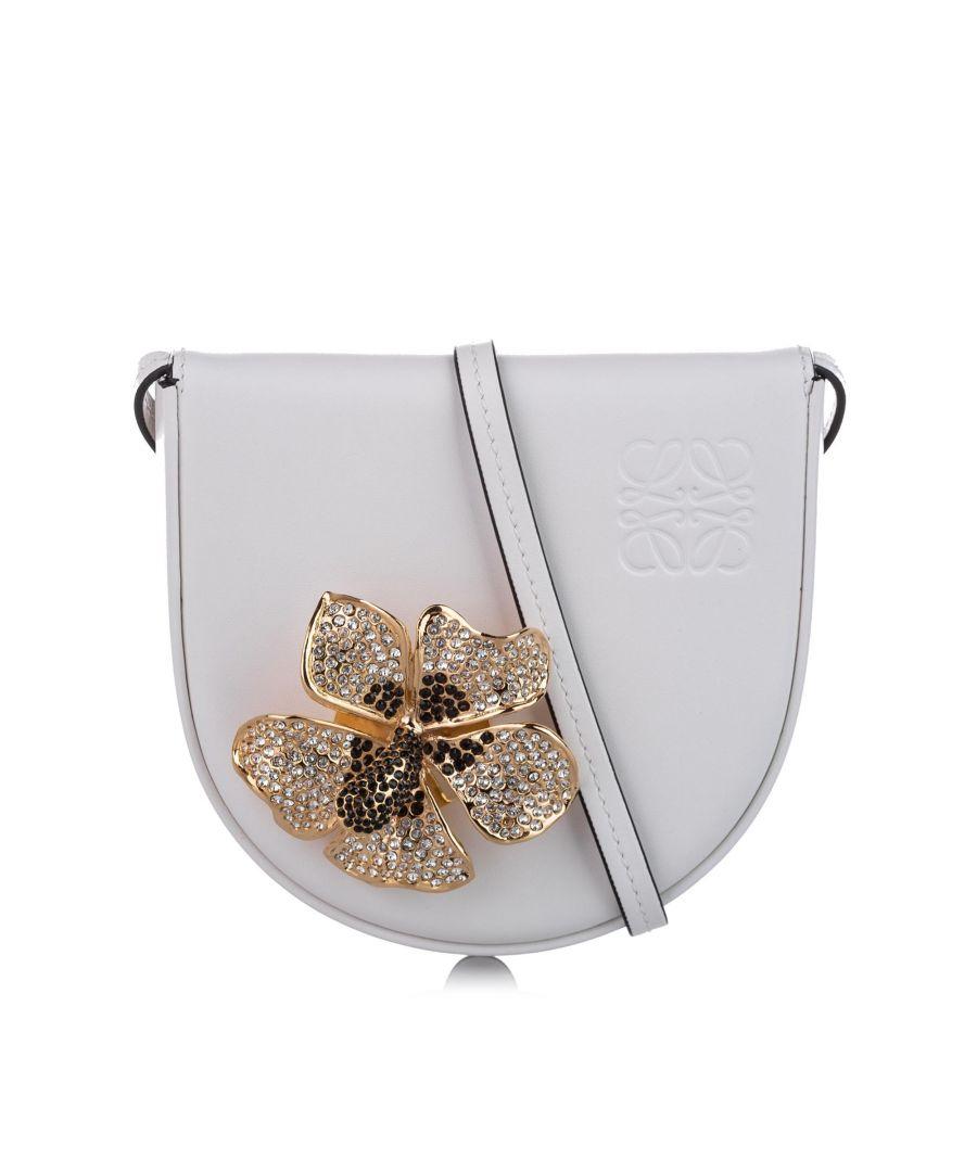 Image for Vintage Loewe Heel Saddle Mini Leather Crossbody Bag White
