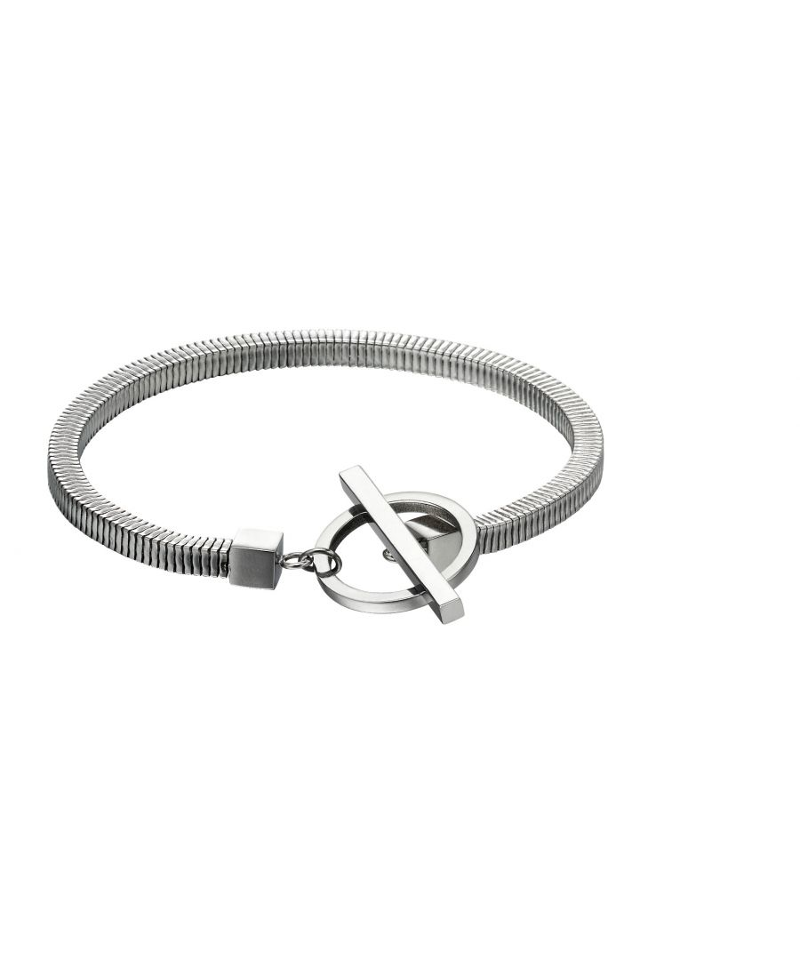 Image for Fred Bennett Stainless Steel Mens Square Snake Chain Bracelet with T Bar Clasp 21.5cm