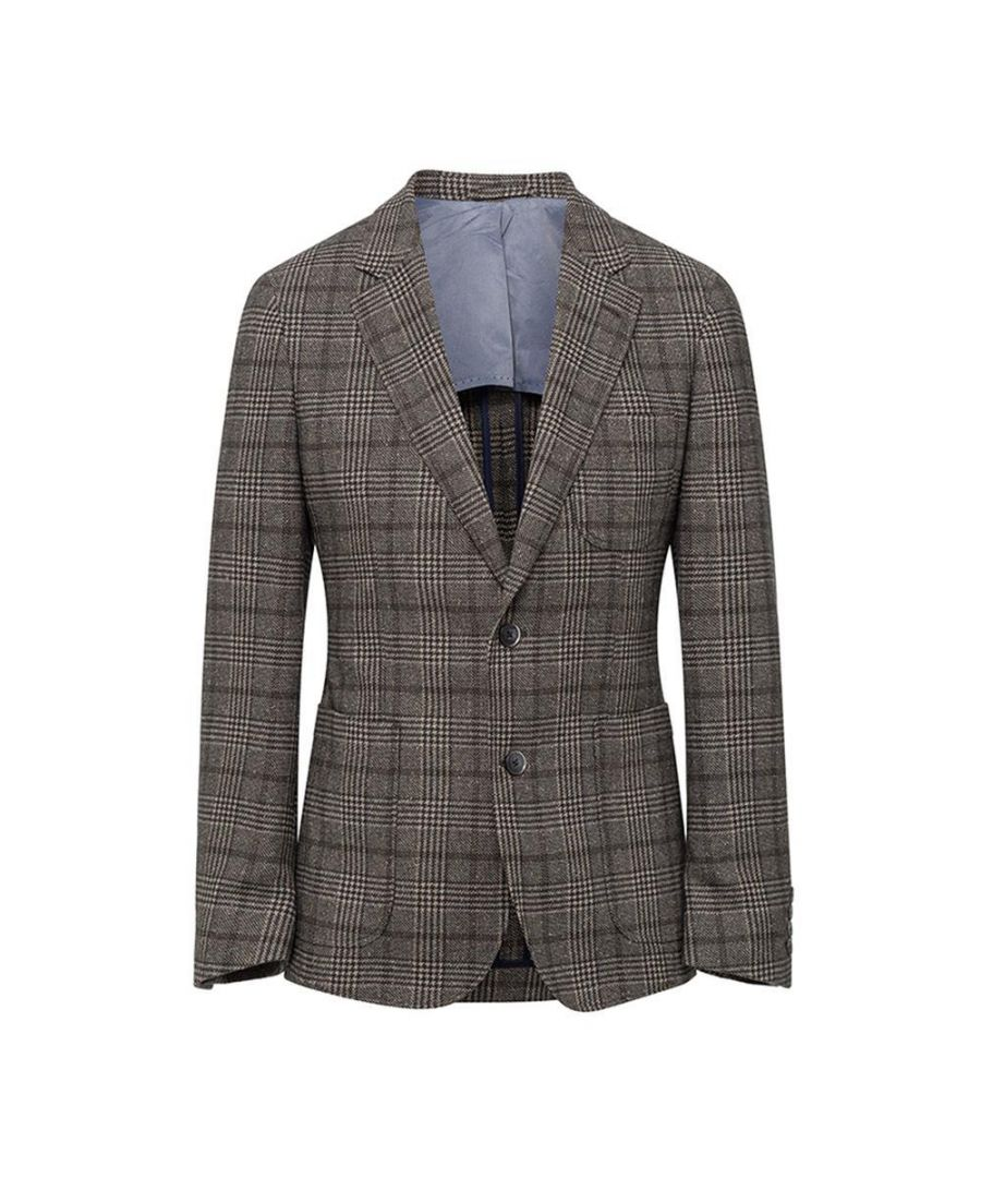 Image for Men's Hackett, Twill Houndstooth Jacket in Charcoal
