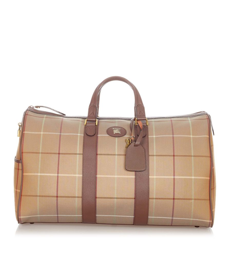 Image for Vintage Burberry Plaid Canvas Travel Bag Brown
