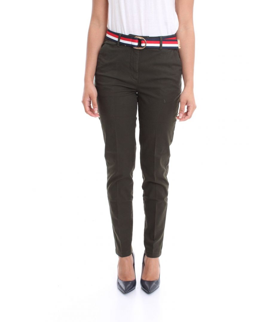 Image for TOMMY HILFIGER WOMEN'S WW0WW26785MR8 GREEN COTTON PANTS