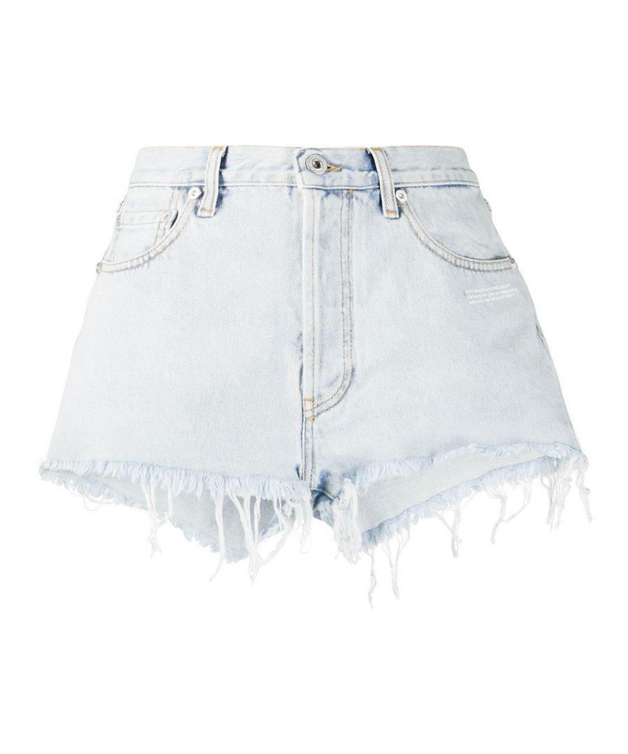 Image for OFF-WHITE WOMEN'S OWYC002S20DEN0014500 LIGHT BLUE COTTON SHORTS