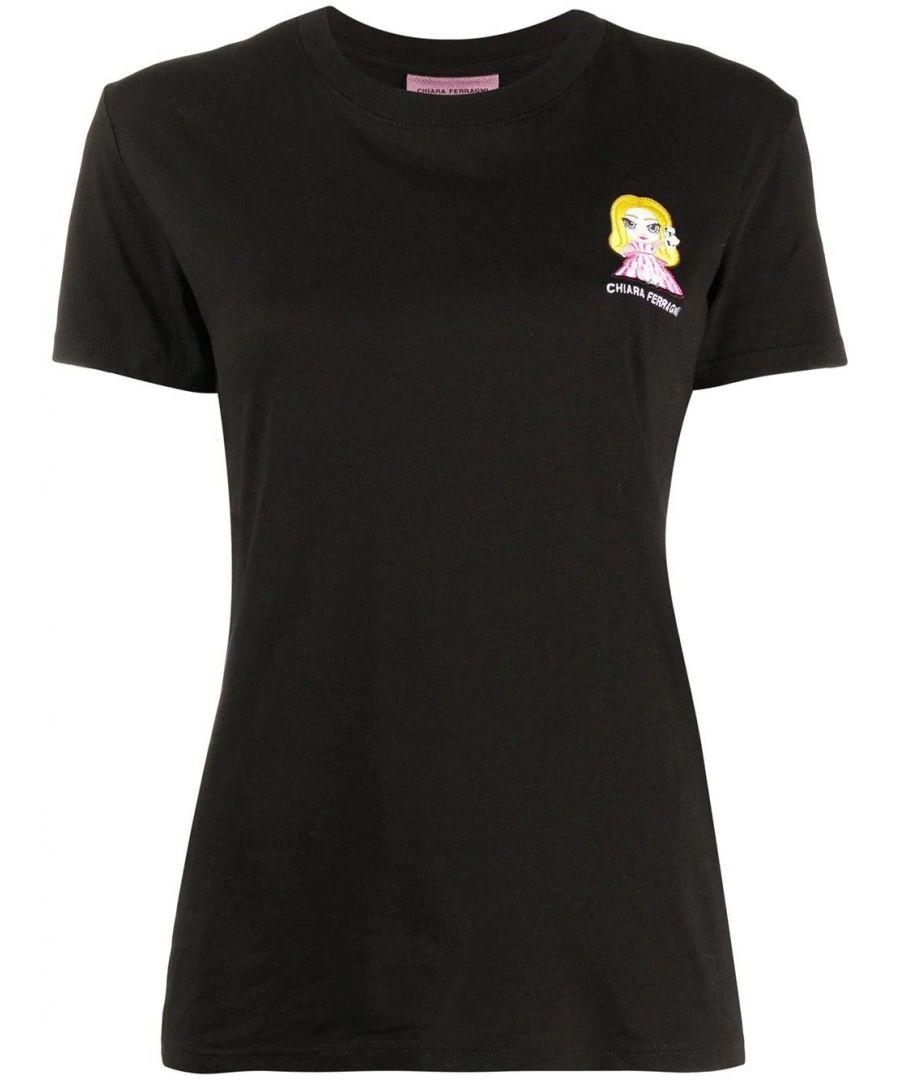 Image for CHIARA FERRAGNI WOMEN'S CFT102BLACK BLACK COTTON T-SHIRT