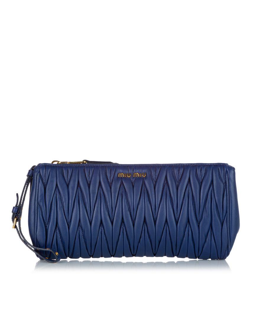 Image for Vintage Miu Miu Matelasse Leather Clutch Bag Blue