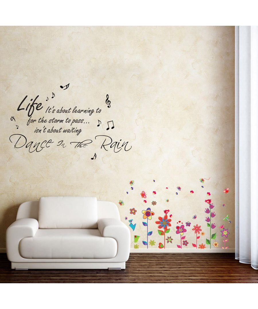 Image for Dance In The Rain Quotes + Flowers Peel and Stick, self-adhesive, Living Room Wall Sticker