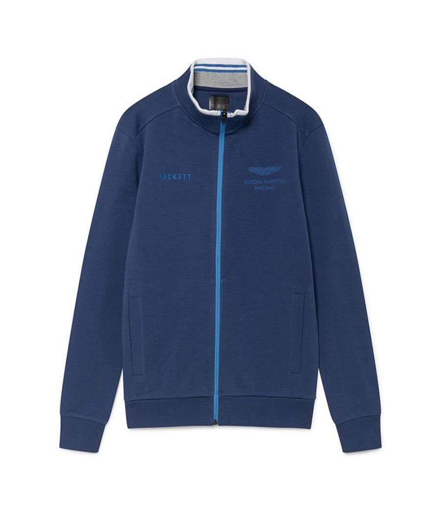 Image for Men's Hackett Aston Martin Racing, Full Zipper Sweater in Navy