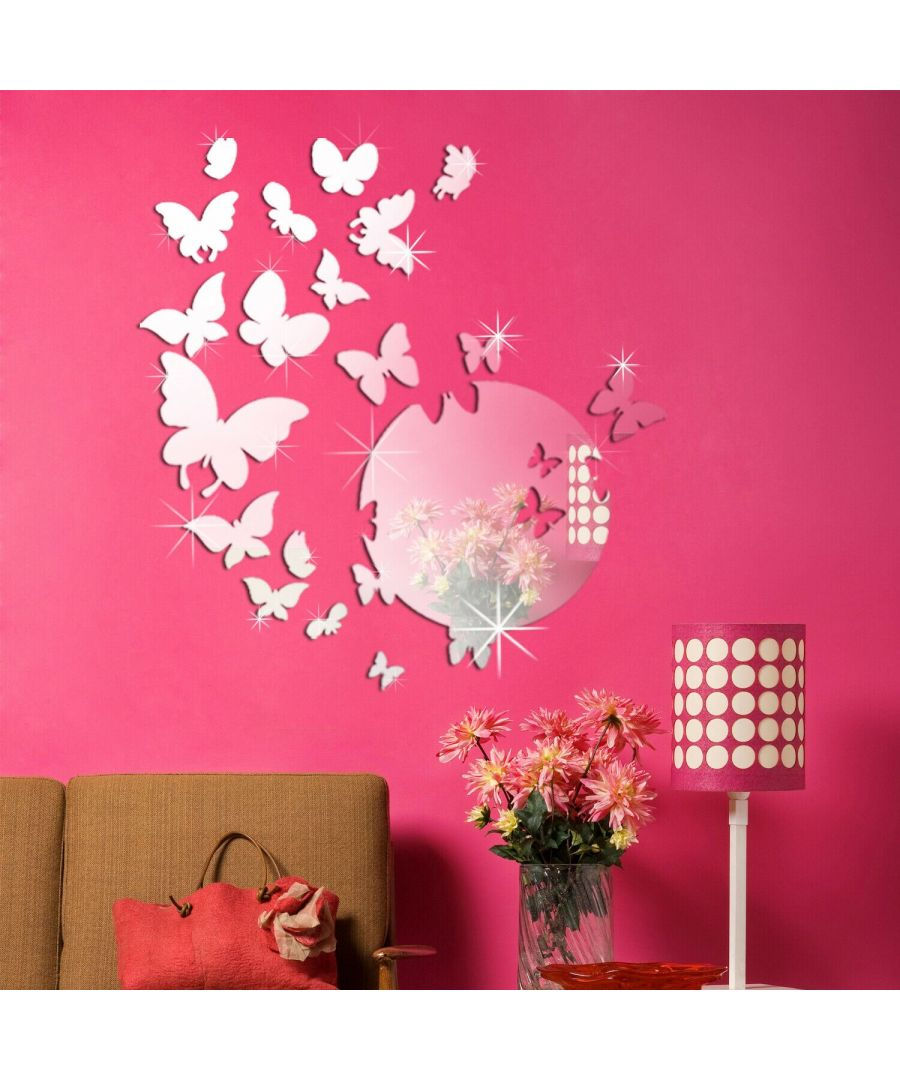 Image for 14 Mirror Butterflies Wall Art + Butterfly Mirror Art Wall Stickers, Kitchen, Bathroom, Living room, Self-adhesive, Decal, Butterflies Decoration