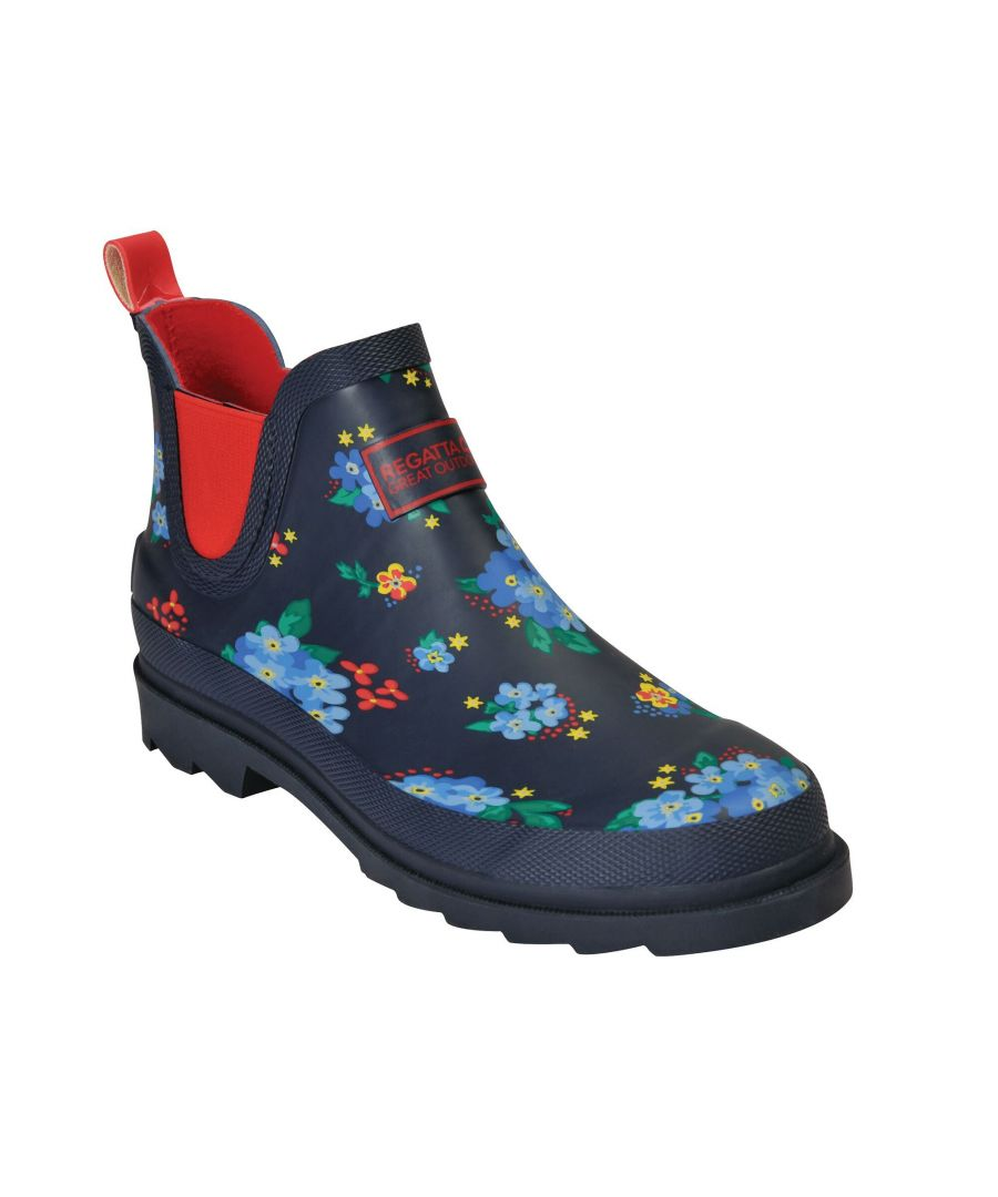 Image for Regatta Great Outdoors Womens/Ladies Harper Low Cut Wellington Boots (Navy/Red)