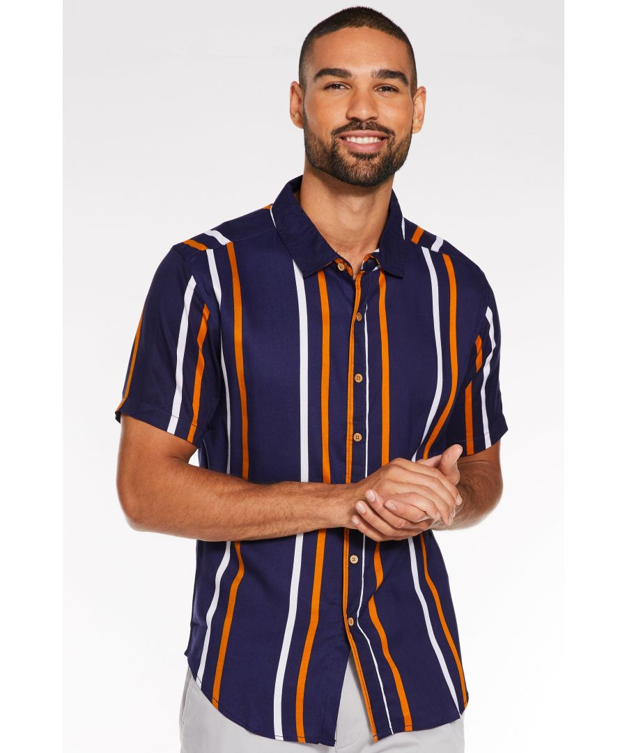 Image for Short Sleeved Viscose Striped Shirt in Navy