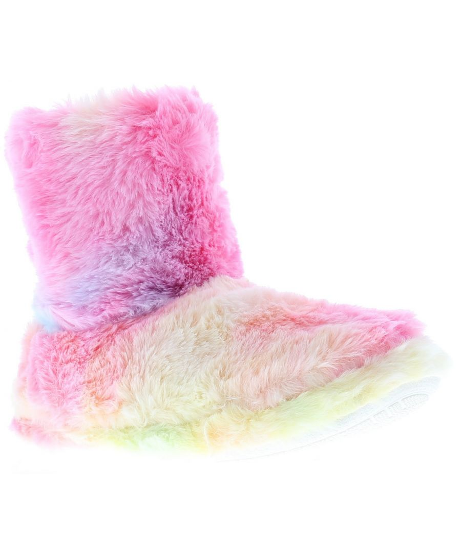 Image for Childs Super Soft Faux Fur Bootee Slipper Rainbow Multi Colour On Textile Covered Tpr Outsole