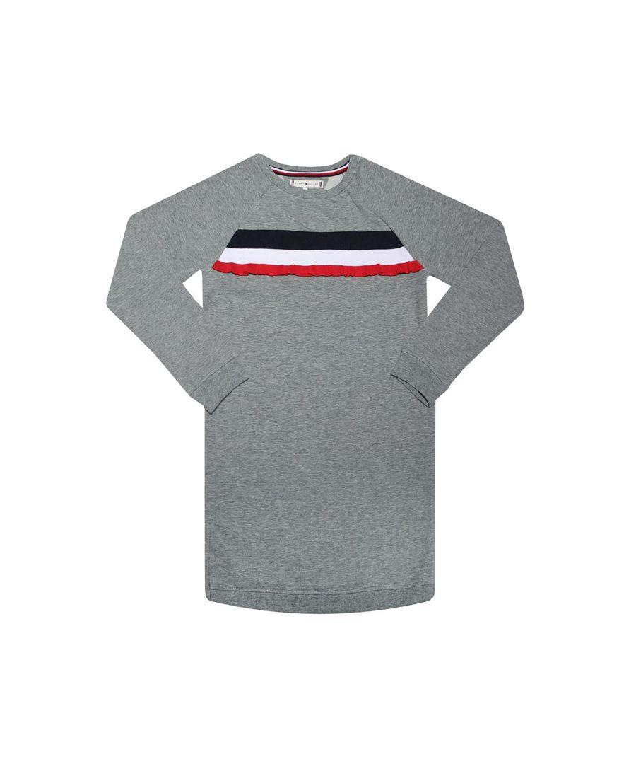 Image for Girls' Tommy Hilfiger Junior Ruffle Stripe Sweatshirt Dress in Grey Heather