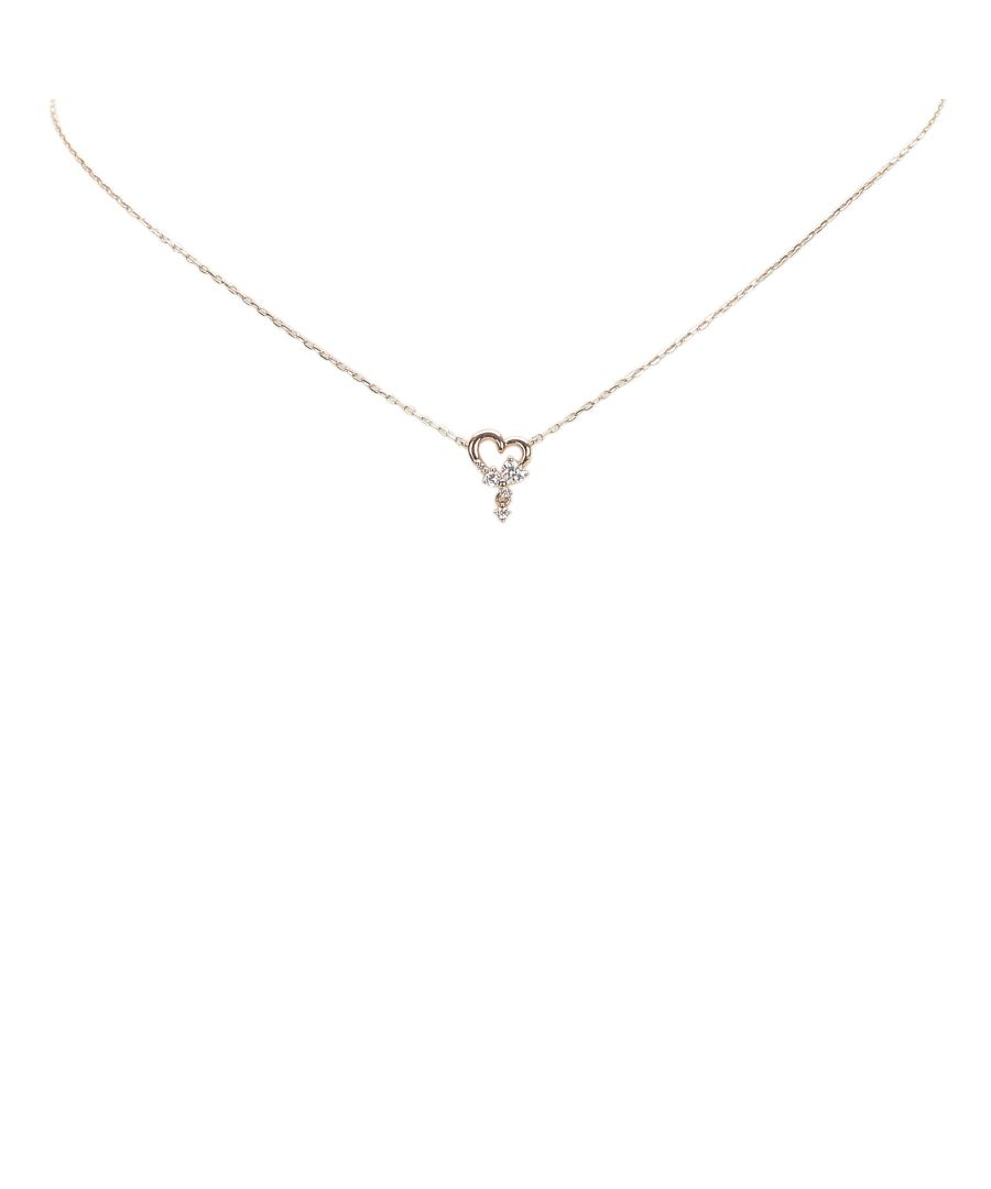 Image for Vintage Dior Heart Logo Rhinestone Necklace Gold