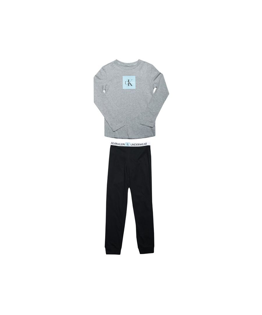 Image for Boy's Calvin Klein Junior Knit Pyjama Set in Grey black