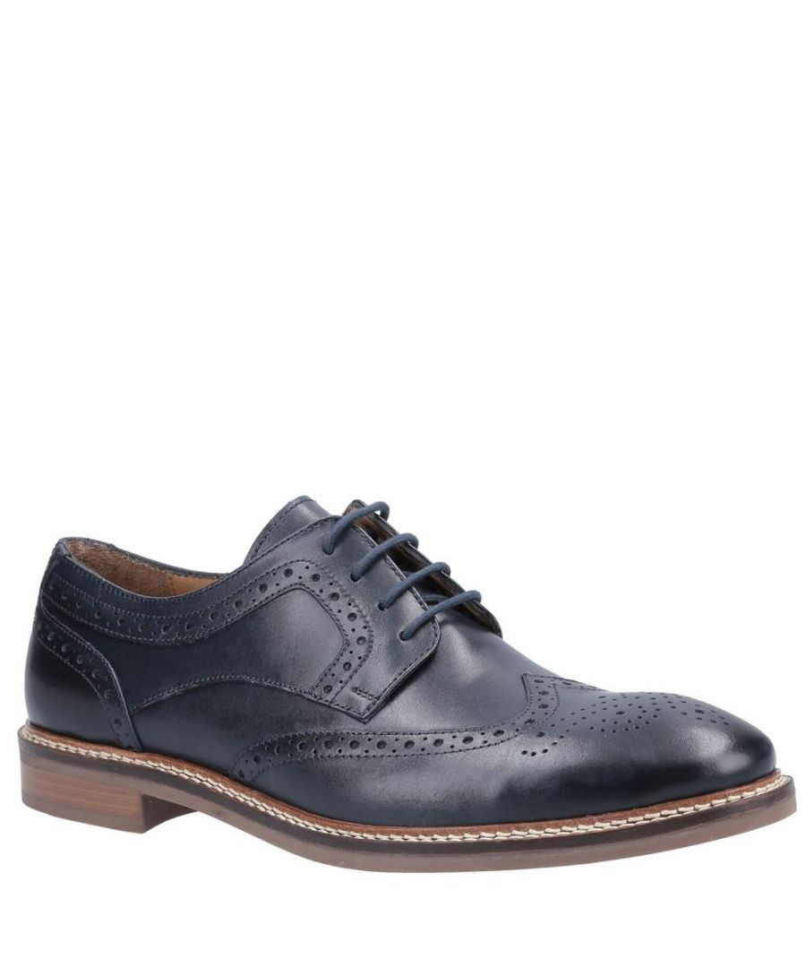 Image for Hush Puppies Mens Bryson Leather Shoes (Navy)