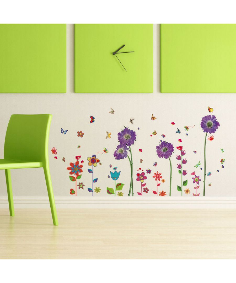 Image for Purple Flower + Colourful Flower , Peel and Stick, self-adhesive, Living Room Wall Sticker