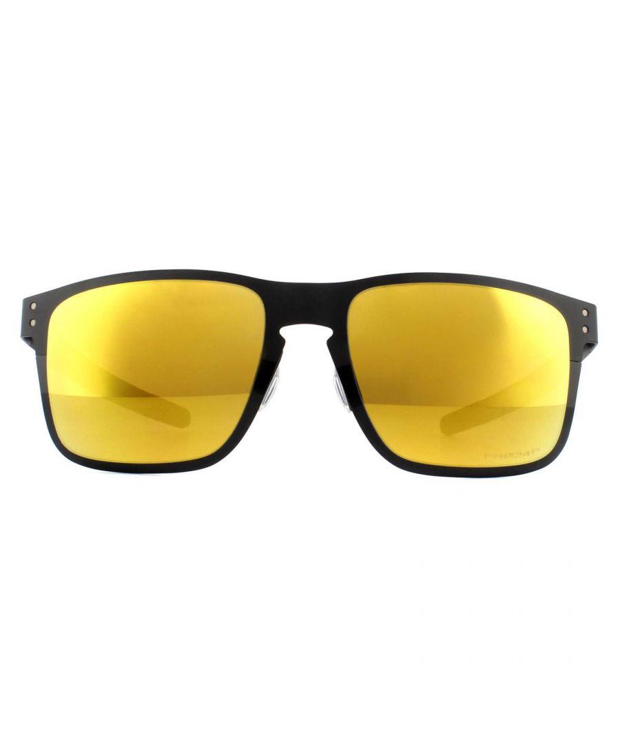 Image for Oakley Sunglasses Holbrook Metal OO4123-20 Polished Black Prizm 24K Polarized