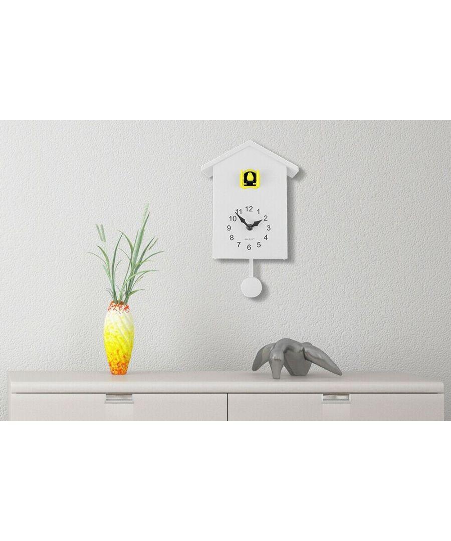 Image for Walplus White Cuckoo Clock - Yellow Window clock, Bedroom, Living room, Modern, Home office essential, Gift