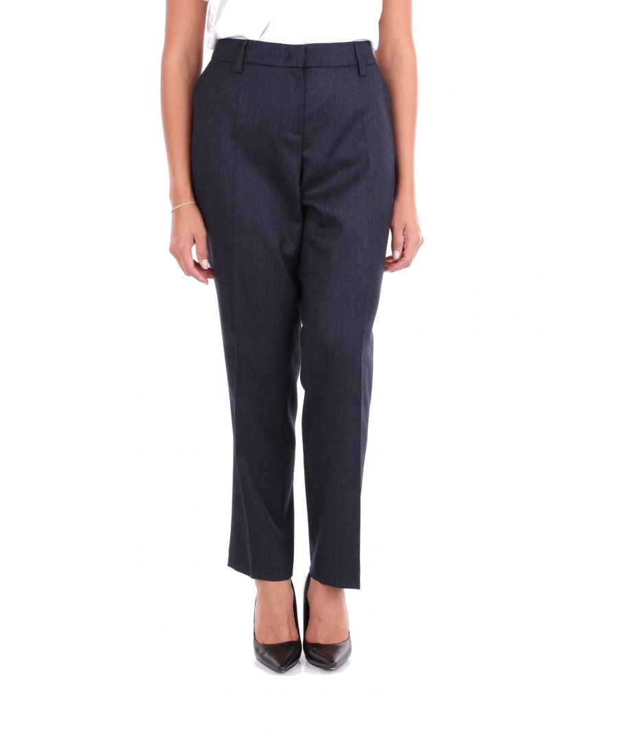 Image for LES COPAINS WOMEN'S 0J3093BLUE BLUE WOOL PANTS