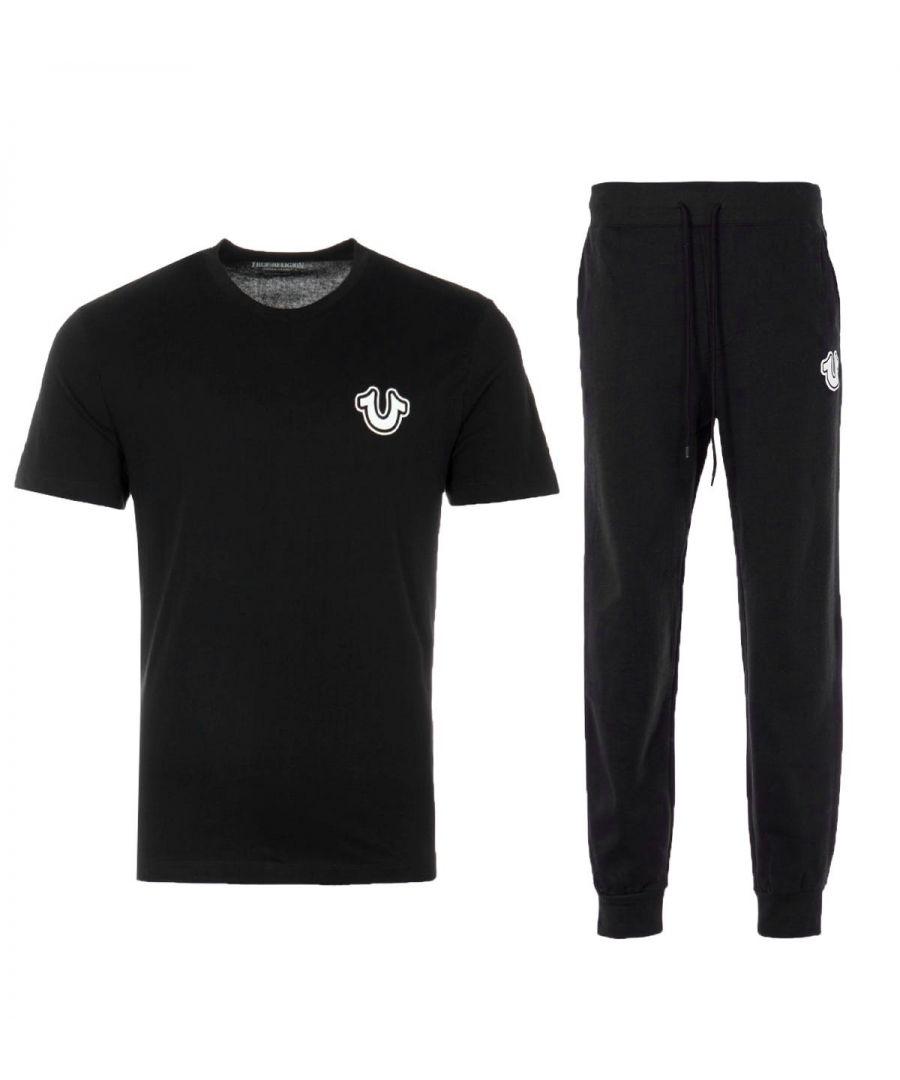 Image for True Religion Core Horseshoe T-Shirt & Joggers Loungewear Set - Black