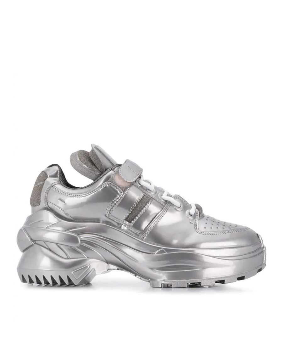 Image for MAISON MARGIELA WOMEN'S S39WS0037P2498T9002 SILVER LEATHER SNEAKERS