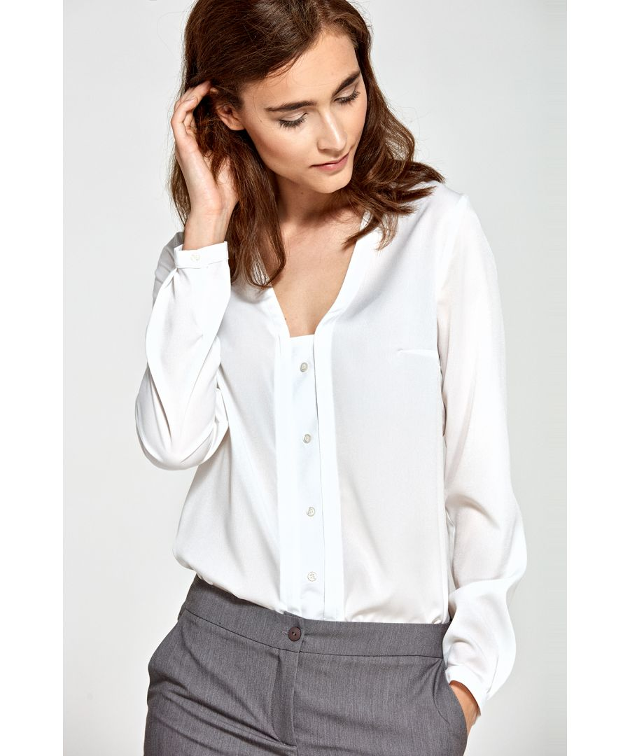 Image for Blouse with vertical piping and buttons - ecru