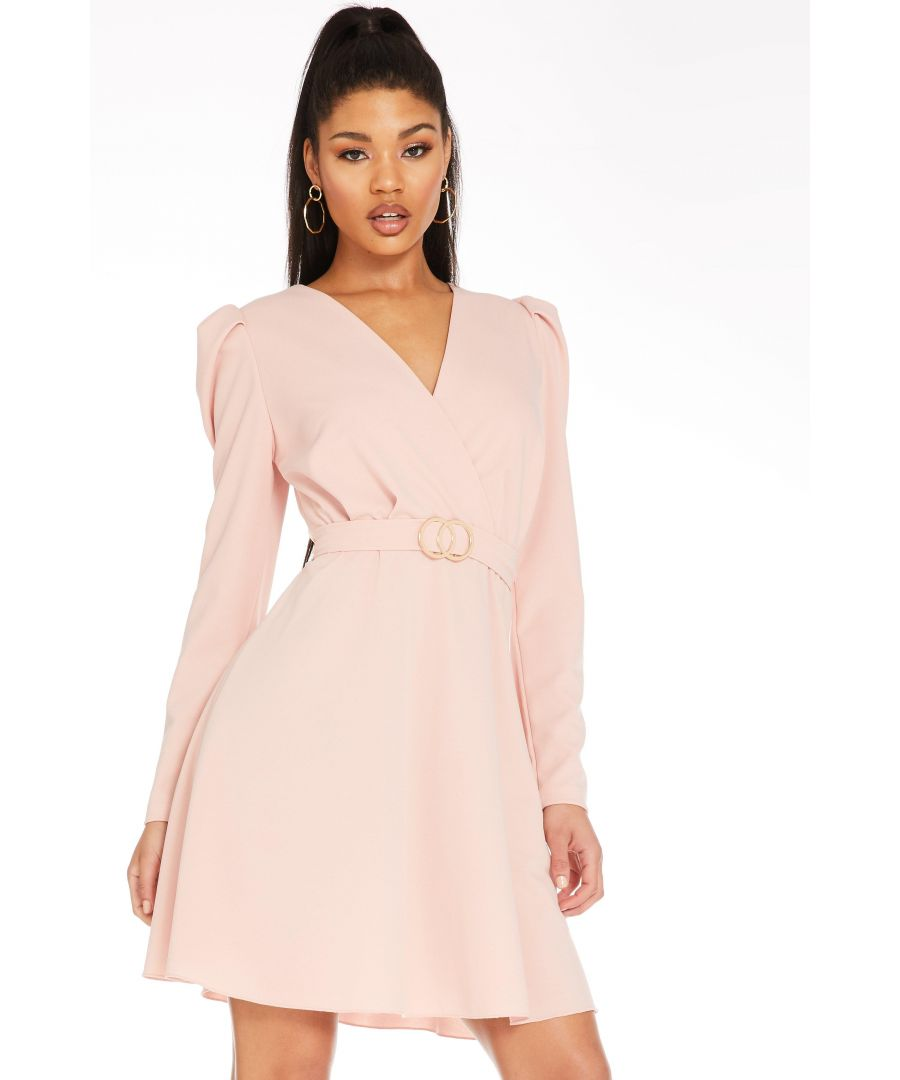 Image for Pink Puff Sleeve Skater Dress