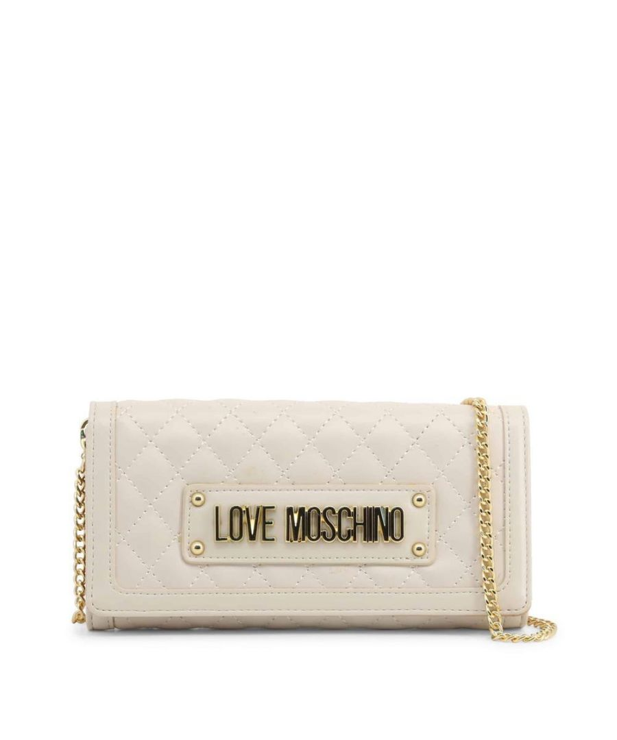 Image for Love Moschino Quilted Gold Chain Large Wallet in White