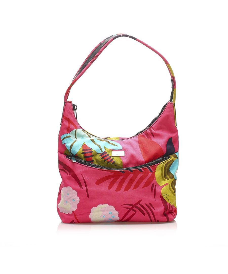 Image for Vintage Gucci Flora Canvas Shoulder Bag Pink