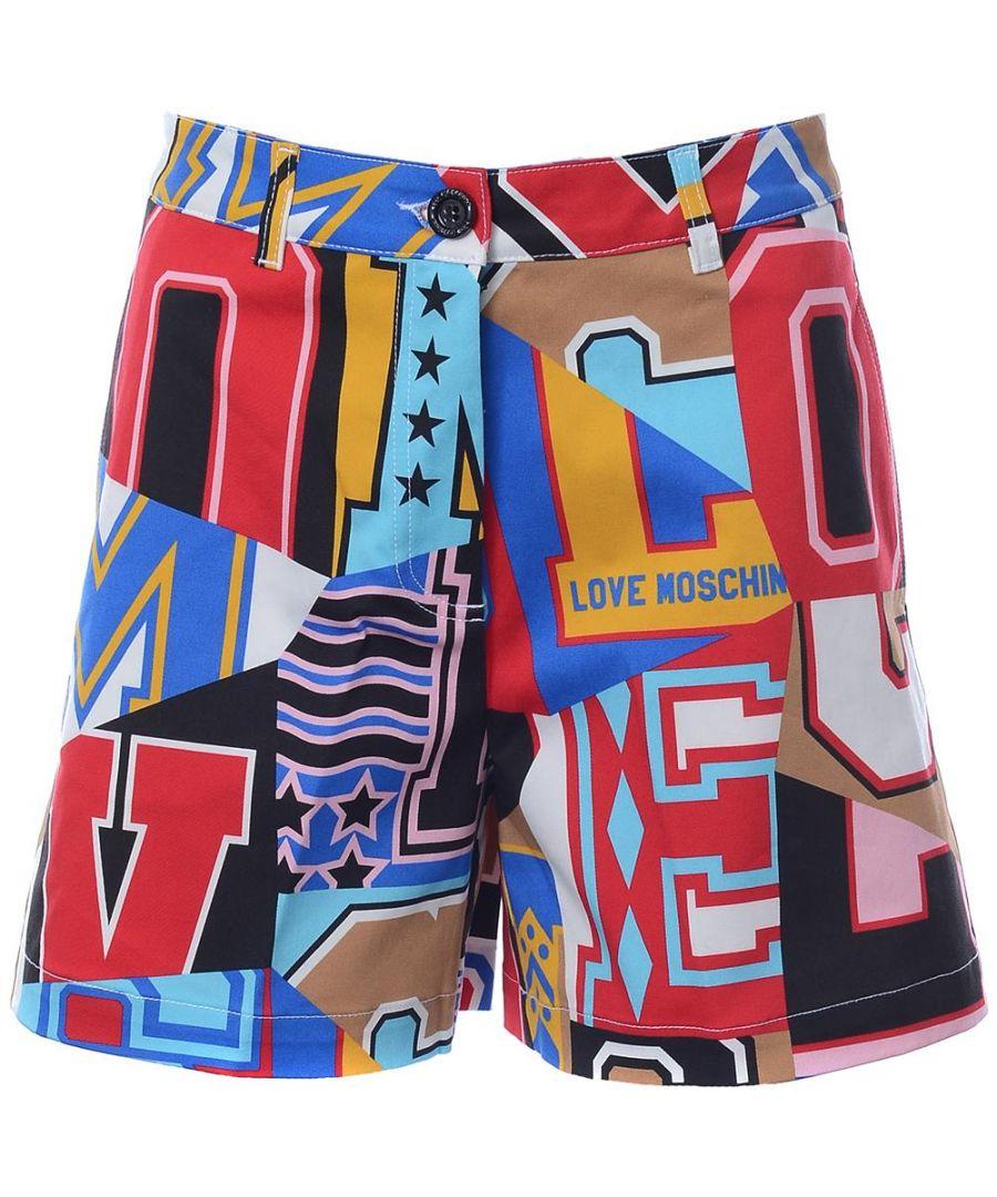 Image for Love Moschino SHORT ALLOVER LETTERE-LETTERING in Multicoloured