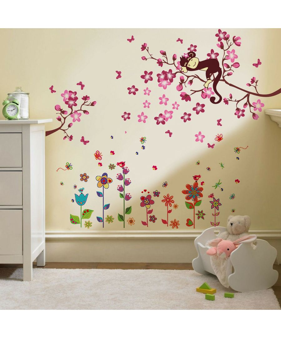 Image for Colorful Flower+ Pink Monkey, Kids Bedroom, Peel and Stick, self-adhesive