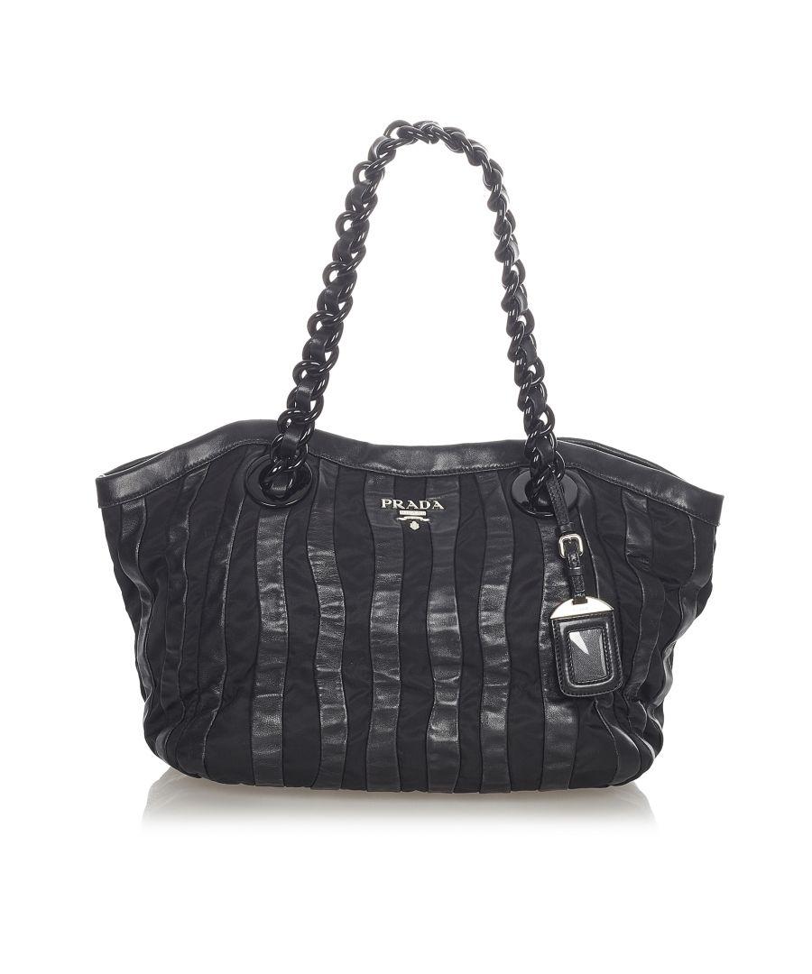 Image for Vintage Prada Tessuto Nappa Waves Tote Bag Black