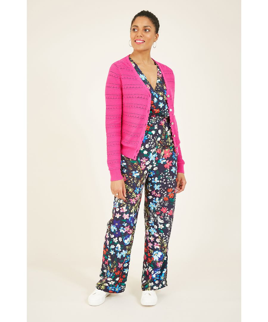 Image for Yumi Pink Pointelle Knit Cardigan