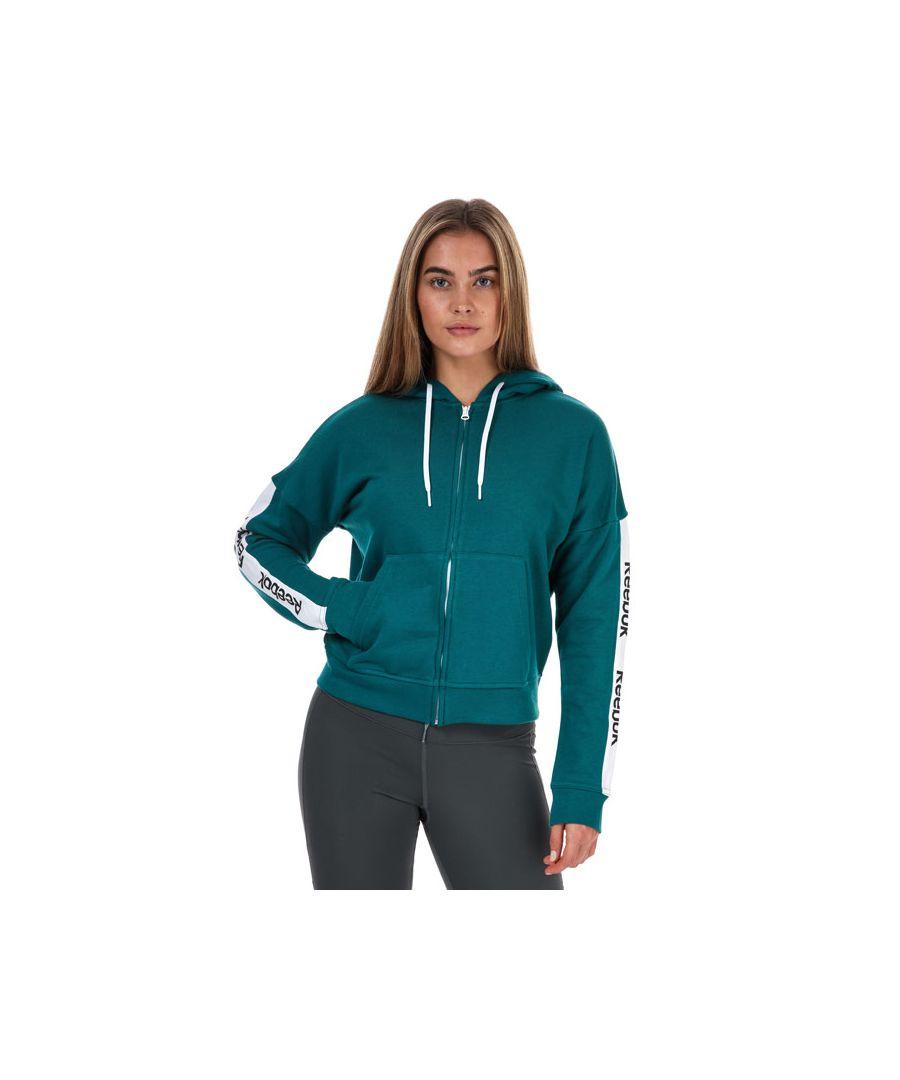 Image for Women's Reebok Te Linear Logo Zip Hoodie Teal 4-6In Teal
